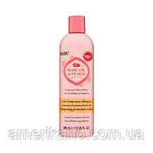 Шампунь для фарбованого волосся з рожевою водою і персиком HASK Rose Oil & Pure Color Protection Shampoo, 355 мл