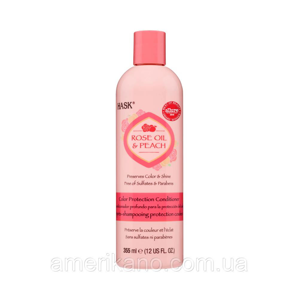 Кондиционер для окрашенных волос с розовой водой и персиком HASK Rose Oil & Peach Color Protection Conditioner