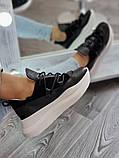 Женские кроссовки на высокой подошве 6 см из натуральной кожи черные белые бежевые, фото 3