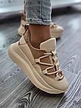 Женские кроссовки на высокой подошве 6 см из натуральной кожи черные белые бежевые, фото 2