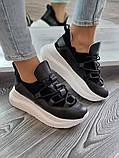 Женские кроссовки на высокой подошве 6 см из натуральной кожи черные белые бежевые, фото 4