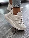 Женские кроссовки на высокой подошве 6 см из натуральной кожи черные белые бежевые, фото 8