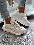 Женские кроссовки на высокой подошве 6 см из натуральной кожи черные белые бежевые, фото 7