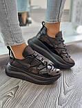 Женские кроссовки на высокой подошве 6 см из натуральной кожи черные белые бежевые, фото 6