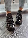 Женские кроссовки на высокой подошве 6 см из натуральной кожи черные белые бежевые, фото 5