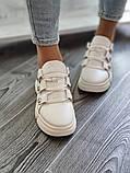 Женские кроссовки на высокой подошве из натуральной кожи черные белые, фото 3