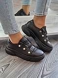 Женские кроссовки на высокой подошве из натуральной кожи черные белые, фото 4