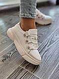 Женские кроссовки на высокой подошве из натуральной кожи черные белые, фото 2