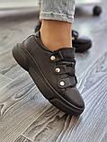 Женские кроссовки на высокой подошве из натуральной кожи черные белые, фото 5