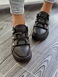 Женские кроссовки на высокой подошве из натуральной кожи черные белые, фото 6