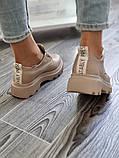 Жіночі туфлі броги на тракторній підошві з натуральної шкіри багато квітів, фото 3
