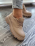 Жіночі туфлі броги на тракторній підошві з натуральної шкіри багато квітів, фото 4