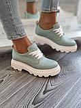 Жіночі туфлі броги на тракторній підошві з натуральної шкіри багато квітів, фото 7