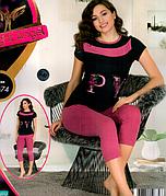 Комплект 2-ка футболка с лосинами качество хлопок с лайкрой Night Аngel № 9674