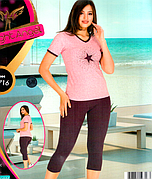 Комплект 2-ка футболка с лосинами качество хлопок с лайкрой Night Аngel № 9716
