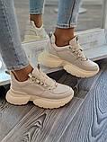 Женские кроссовки на высокой подошве 6 см из натуральной кожи черные бежевые, фото 5