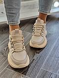 Женские кроссовки на высокой подошве 6 см из натуральной кожи черные бежевые, фото 6