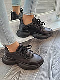 Женские кроссовки на высокой подошве 6 см из натуральной кожи черные бежевые, фото 7