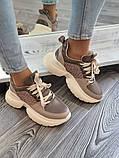 Женские кроссовки на высокой подошве 6 см из натуральной кожи черные бежевые, фото 2