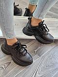 Женские кроссовки на высокой подошве 6 см из натуральной кожи черные бежевые, фото 8