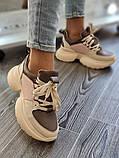 Женские кроссовки на высокой подошве 6 см из натуральной кожи черные бежевые, фото 4