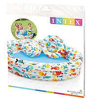 Дитячий надувний басейн Intex Тропічні рибки 132*88 см, Рибки з м'ячем і кругом, 220 літрів - круглий надувний басейн