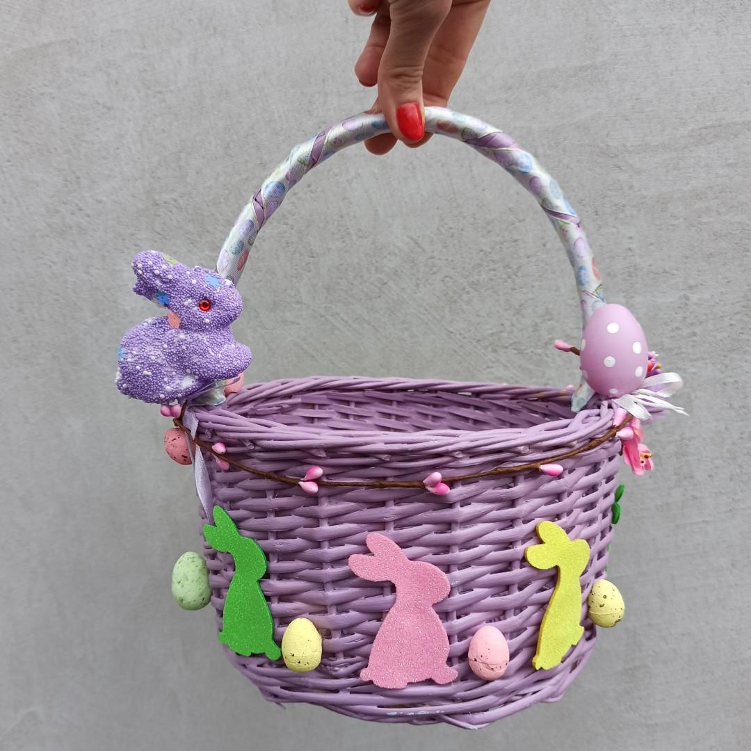 Дитячий пасхальний кошик з зайчиками для дівчаток та хлопчиків