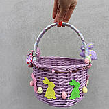 Дитячий пасхальний кошик з зайчиками для дівчаток та хлопчиків, фото 5