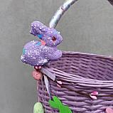 Дитячий пасхальний кошик з зайчиками для дівчаток та хлопчиків, фото 3