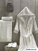 Набор: махровый халат XXL с кружевом + полотенца + тапки Altinbasak Kleopatra