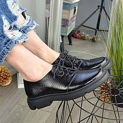Туфли женские кожаные на шнуровке, низкий ход. Цвет черный