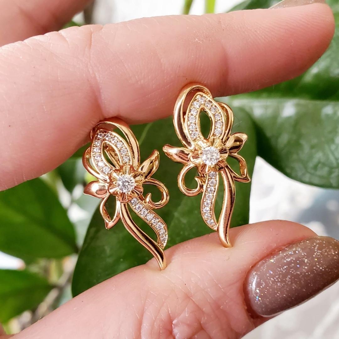 Сережки Xuping довжина 2.7см з цирконієм медичне золото позолота 18К с960