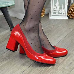 Женские классические туфли на устойчивом каблуке, натуральные лаковая кожа и замша красного цвета