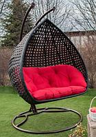 Садовое подвесное кресло качели кокон Doupre Blackсо стойкой, подвесное кресло-шар, подвесные садовые качели