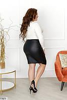 Оригинальная женская юбка из эко-кожи с драпировкой с 42 по 54 размер, фото 5