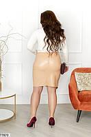 Оригинальная женская юбка из эко-кожи с драпировкой с 42 по 54 размер, фото 6