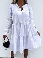 Женская красивая пляжная котоновая туника- платье бежевая черная белая
