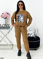Стильный трикотажный костюм в спортивном стиле с оригинальным принтом с 42 по 48 размер, фото 3