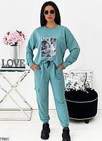 Стильный трикотажный костюм в спортивном стиле с оригинальным принтом с 42 по 48 размер, фото 4