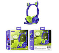 Беспроводные наушники с микрофоном Azimuth A23 милые кошачьи ушки, светящиеся, складные (Фиолетовые)