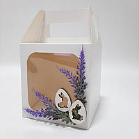 """Коробка для кулича, пряничного домика, подарка с декором """"Лаванда"""" 130х130х140 мм"""