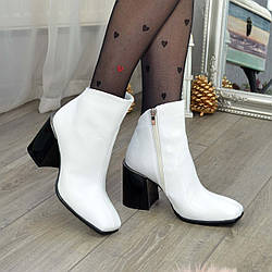 Черевики жіночі шкіряні з квадратним носком. Колір білий