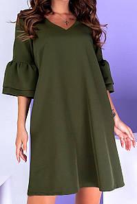 Красивое свободное платье с объемными рукавами 42-48 (в расцветках)