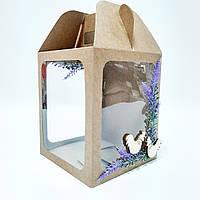 """Коробка крафт для паски, подарунків і пряникових будинків """"Лаванда 165*165*200 мм., фото 1"""