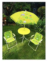 Стіл складаний для пікніка алюмінієвий / 2 крісла / парасолька