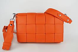 Сумка с квадратным плетением Polina&Eiterou 9569 Оранжевый кожа