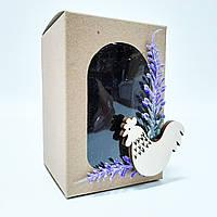 """Коробочка крафт для писанки з декором """"Лаванда"""" 70х70х100 мм."""