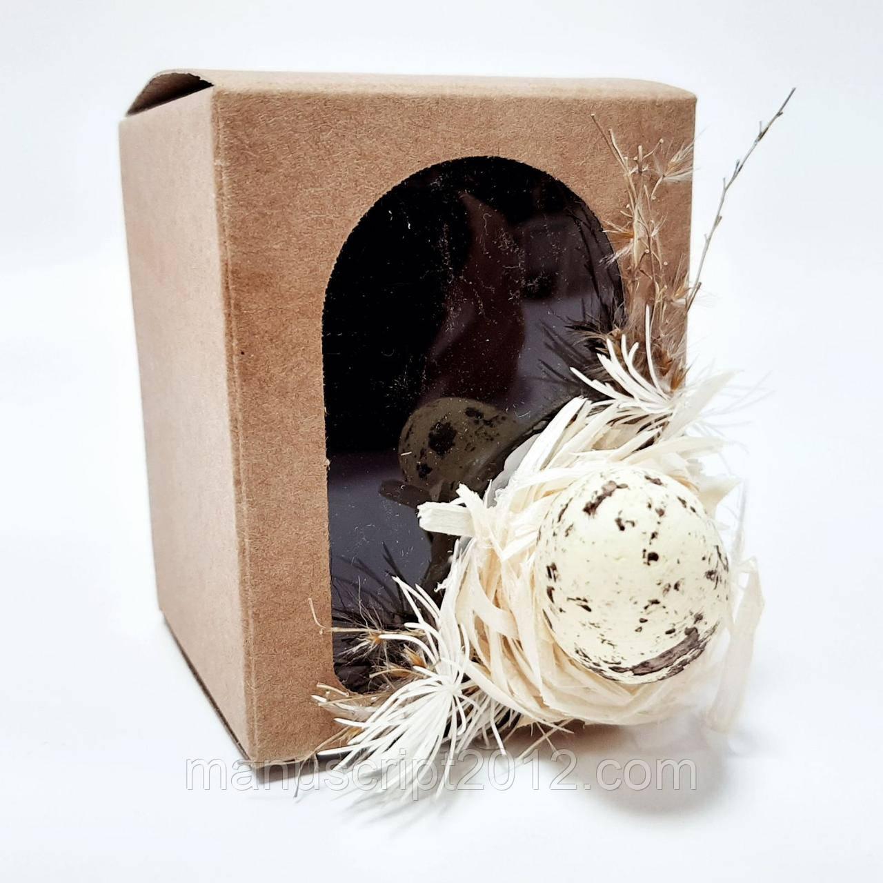 Коробочка для подарка, писанки  крафт с декором 50х50х70 мм.