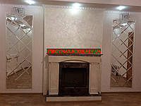 Зеркальное панно в гостиную 700*2100 мм плитка серебро с фацетом