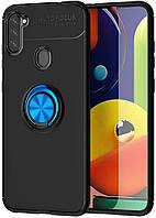 Чехол TPU Ring для Samsung Galaxy M11 / M115 Бампер противоударный с кольцом Black-Blue